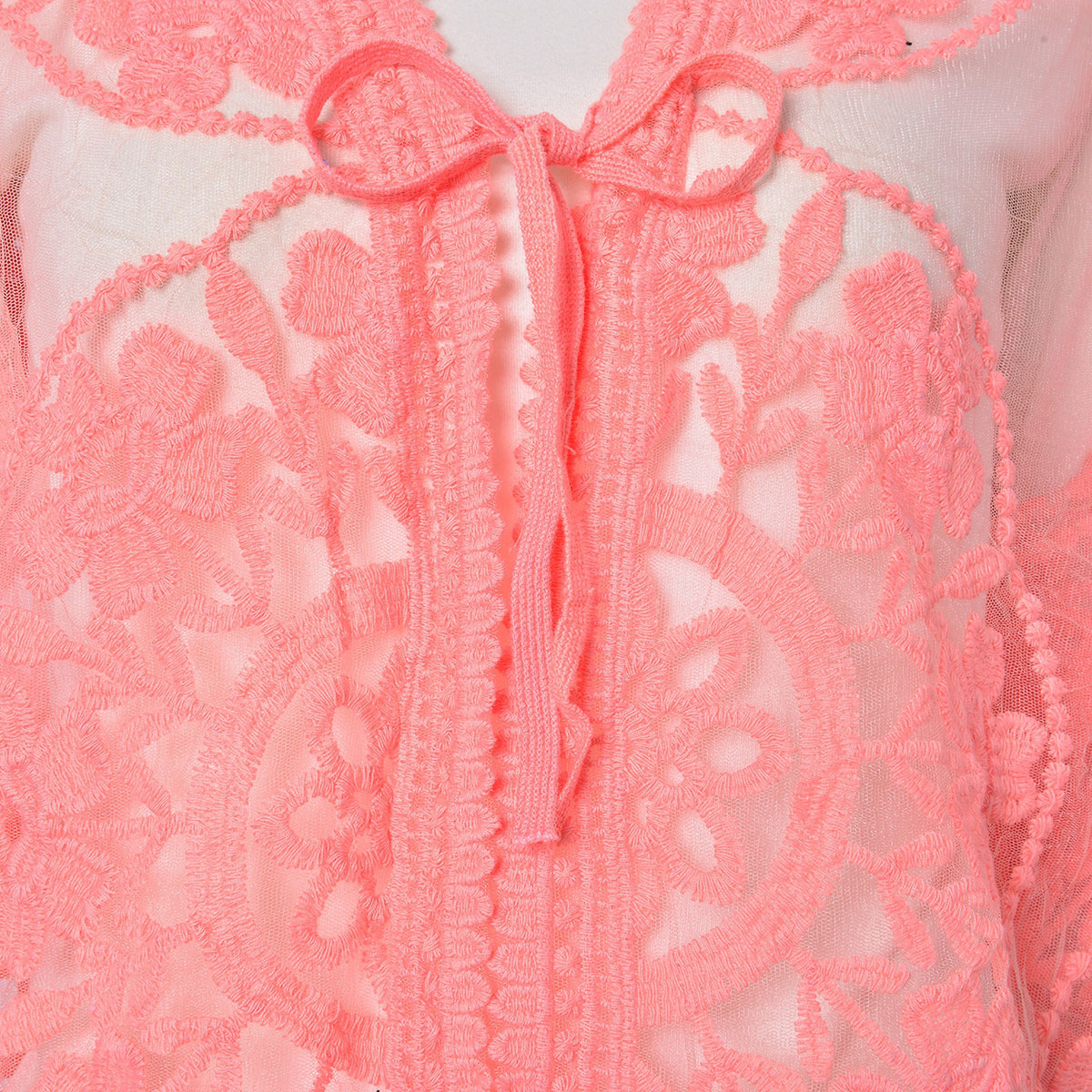 Coral 80% Viscose & 20% Polyester Mid Sleeve Tie Front Short Lace Kimono (One Size)