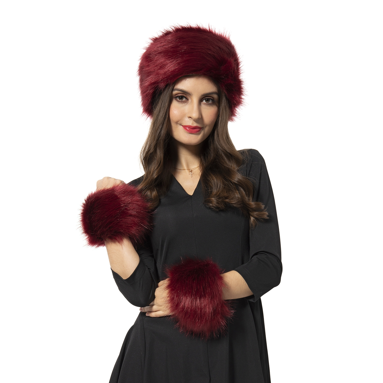 Maroon 100% Polyester Faux Fur Wrist Warmer Cuff (4 in) and Hat (11 in)