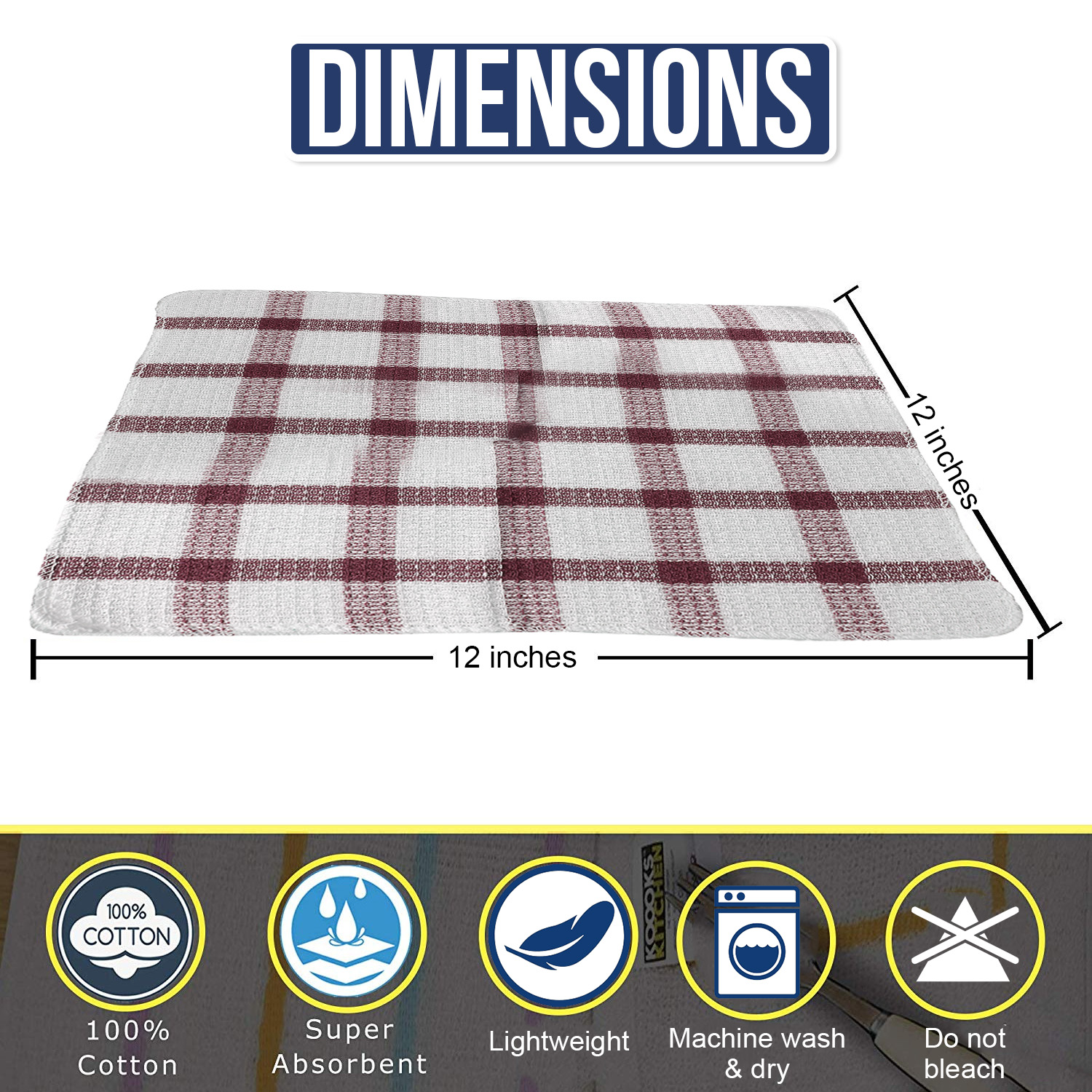 Set-of-24-Checkered-100-Cotton-Dish-Cloth-Kitchen-Cleaning-Cloth thumbnail 19