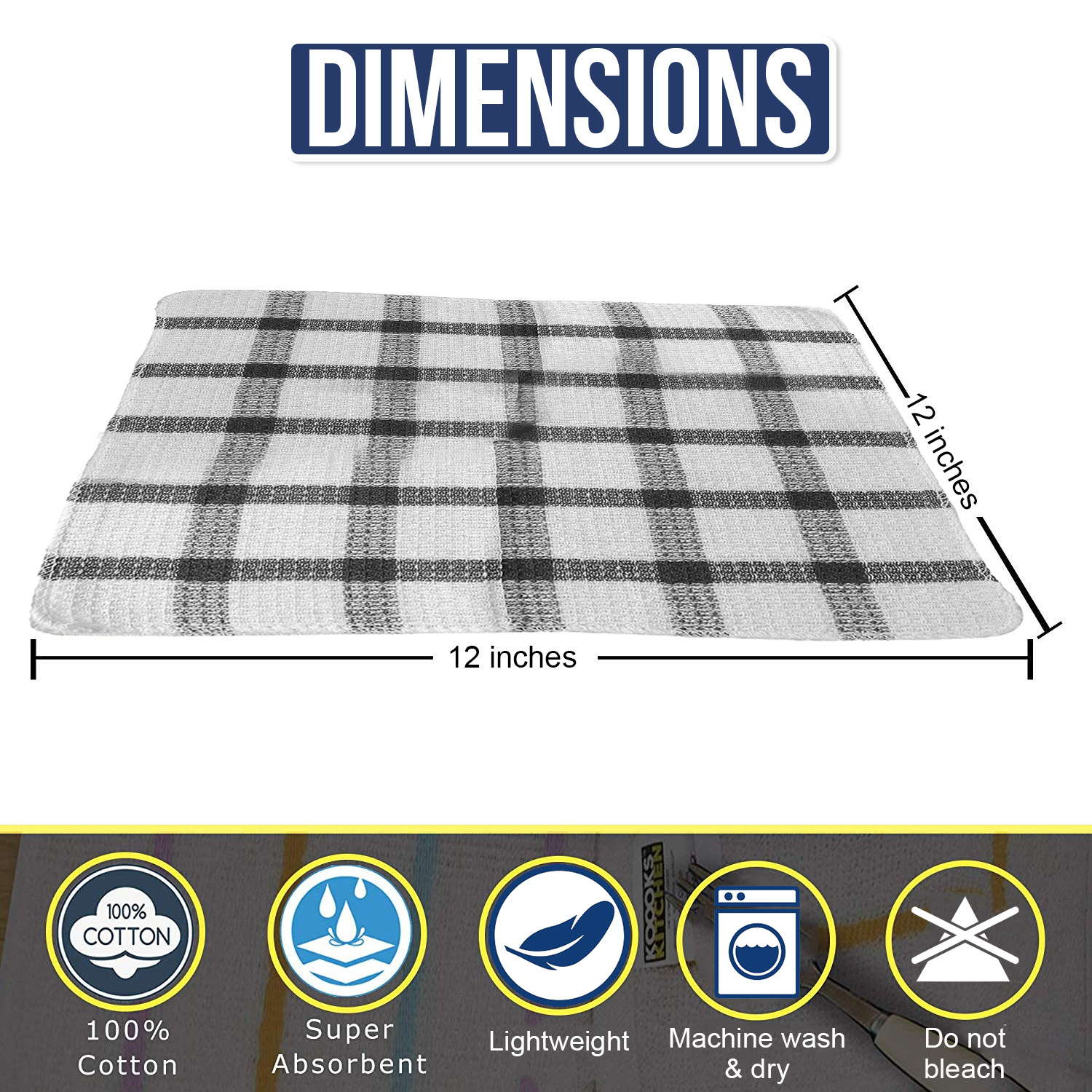 Set-of-24-Checkered-100-Cotton-Dish-Cloth-Kitchen-Cleaning-Cloth thumbnail 11