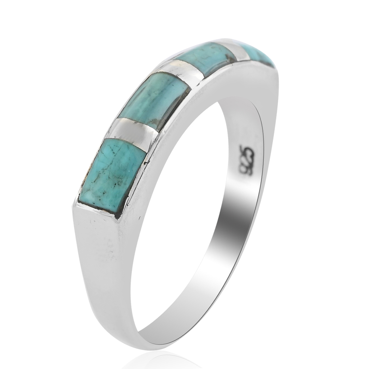 925-Sterling-Silver-Turquoise-Band-Ring-Southwest-Jewelry-for-Women-Cttw-3-5 thumbnail 8