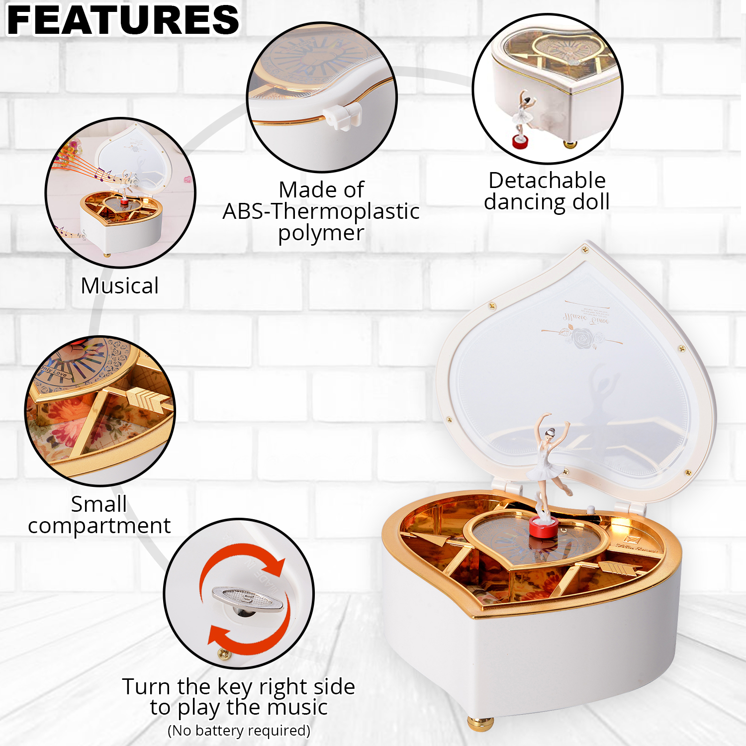 thumbnail 26 - Valentine Heart Shape Music Dancing Jewelry Box with Ballerina Magnetic Dancer