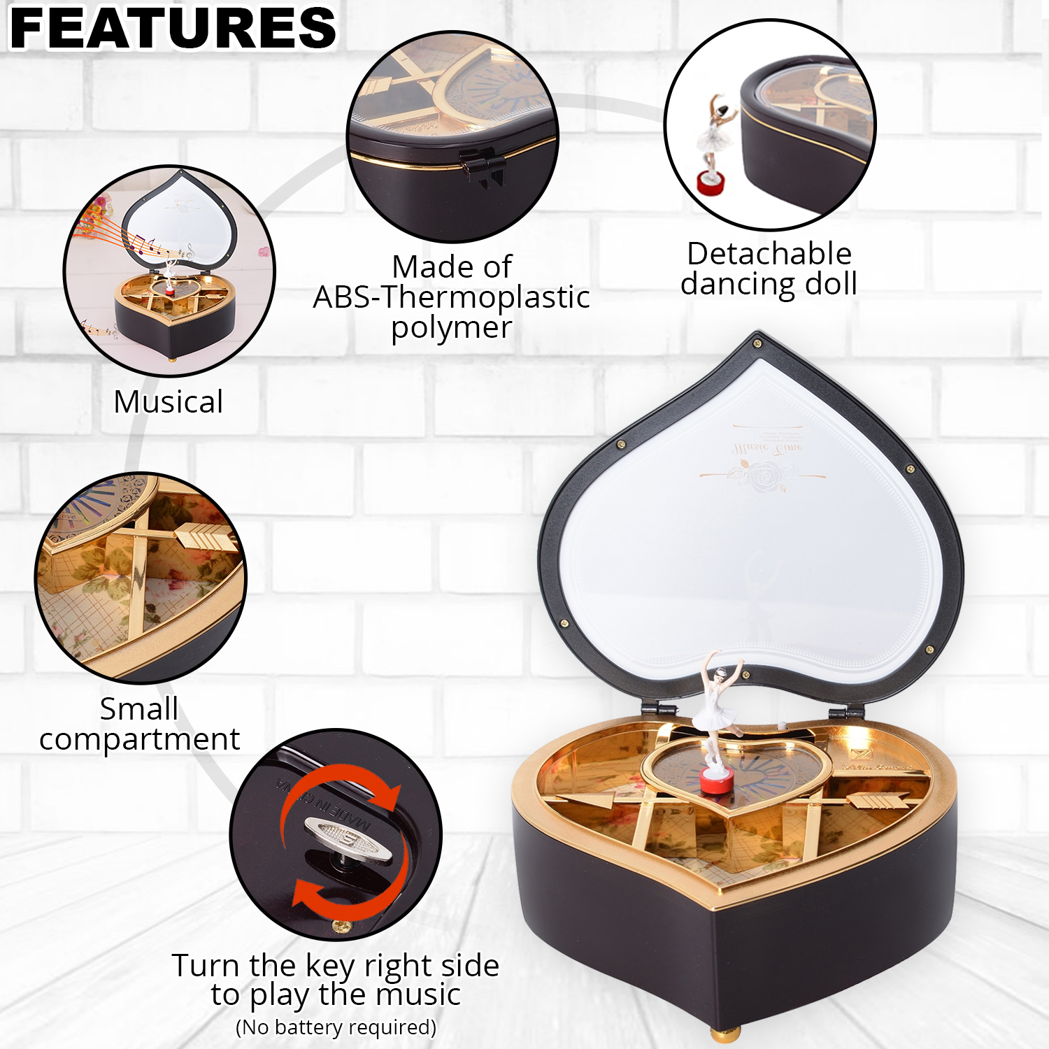 thumbnail 10 - Valentine Heart Shape Music Dancing Jewelry Box with Ballerina Magnetic Dancer