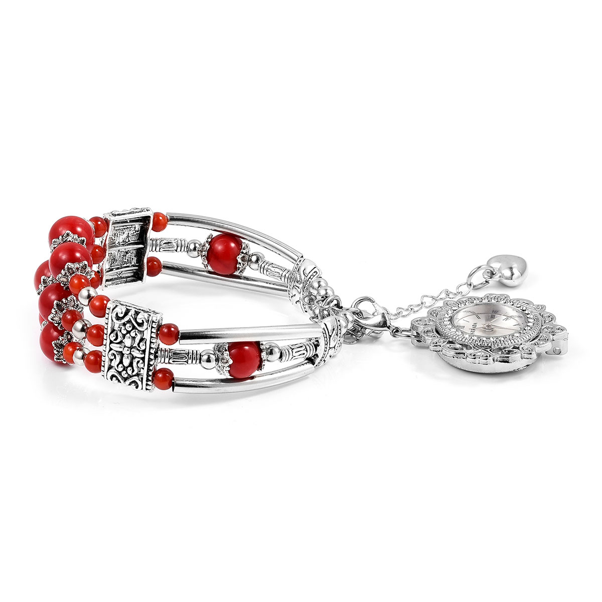 STRADA Coral, White Austrian Crystal Cuff Bracelet with Removable Japanese  Movement Water Resistant Watch Charm and 2 Extender in Silvertone with
