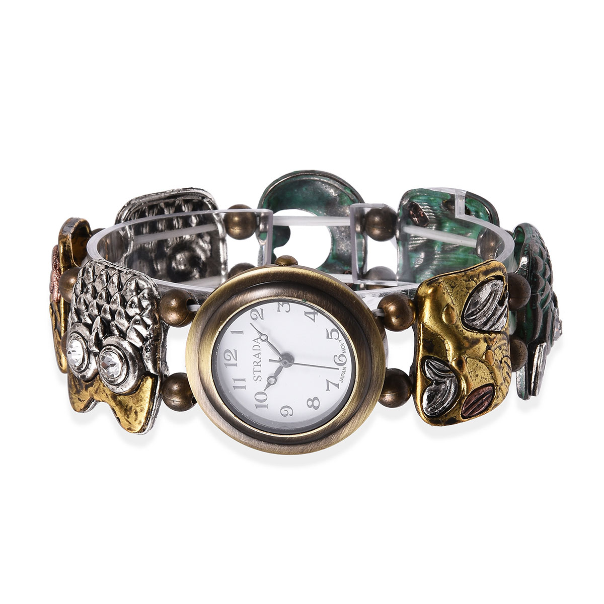 f2a0d87f7 ... STRADA Austrian Crystal Japanese Movement Water Resistant Enameled  Bracelet Watch (Stretchable) in Multitone and ...