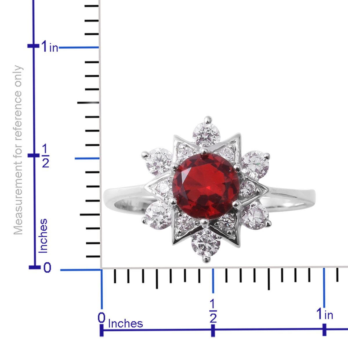 Red and White CZ Ring in Sterling Silver (Size 8.0) 2.91 ctw