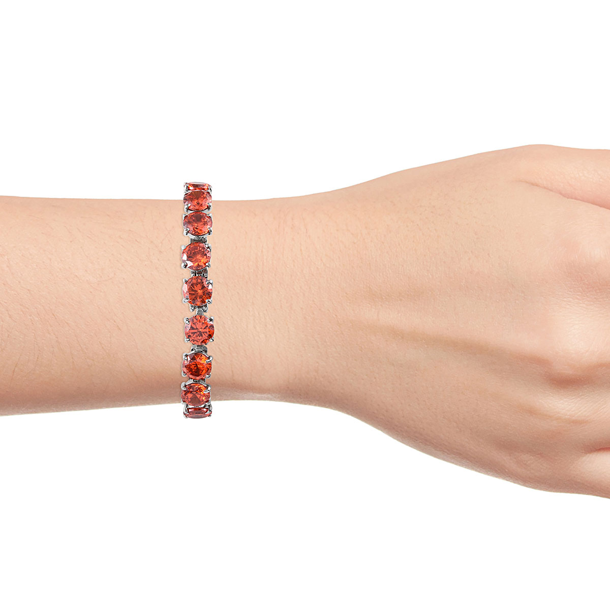 Steel-Cubic-Zirconia-CZ-Orange-Elegant-Adjustable-Bolo-Bracelet-for-Women-Ct-21 thumbnail 10