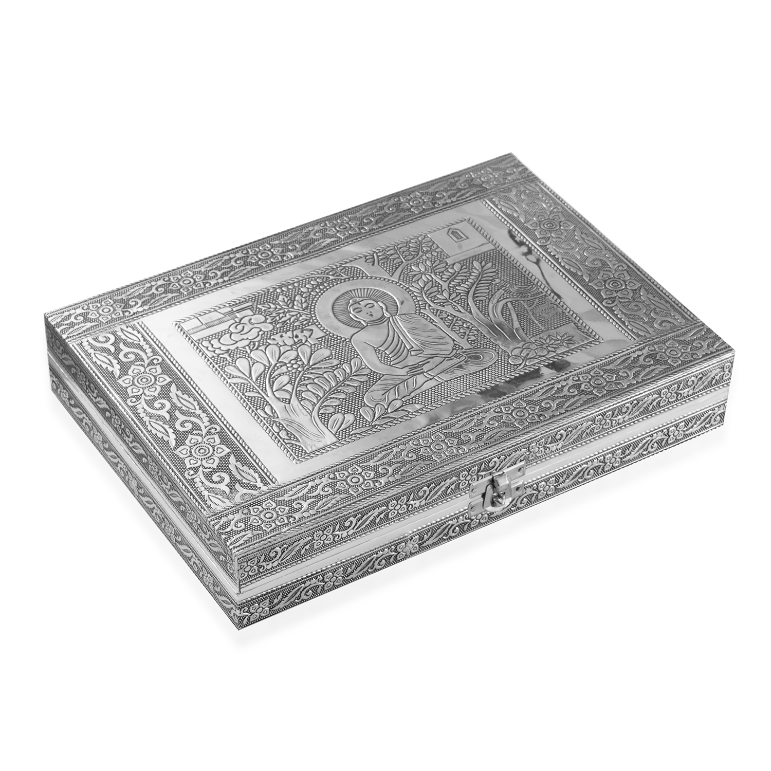Handcrafted Aluminum Buddha Engraved Jewelry Box Scratch Protection Interior 11x2x8 In