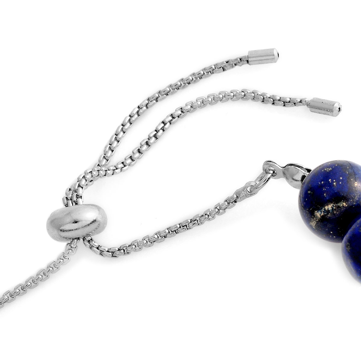 Lapis Lazuli, Multi Gemstone Bolo Charm Bracelet in Silvertone (Adjustable) 115.00 ctw