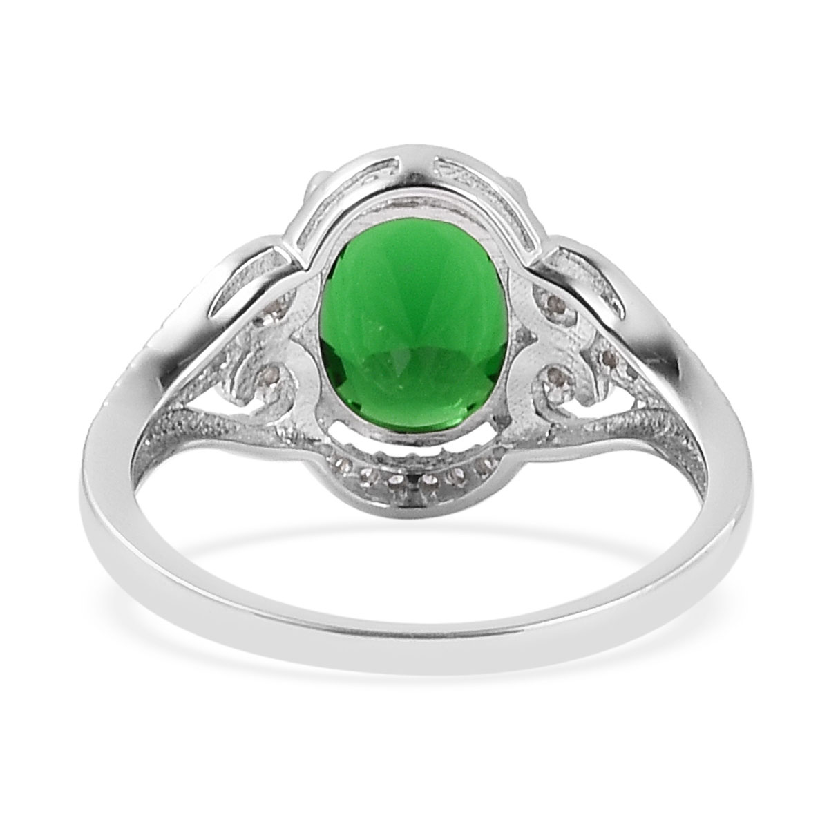 Simulated Emerald, White CZ Sterling Silver Ring (Size 7.0) 2.85 ctw