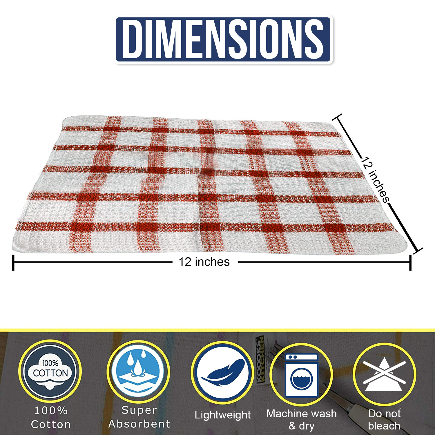 Set-of-24-Checkered-100-Cotton-Dish-Cloth-Kitchen-Cleaning-Cloth thumbnail 15