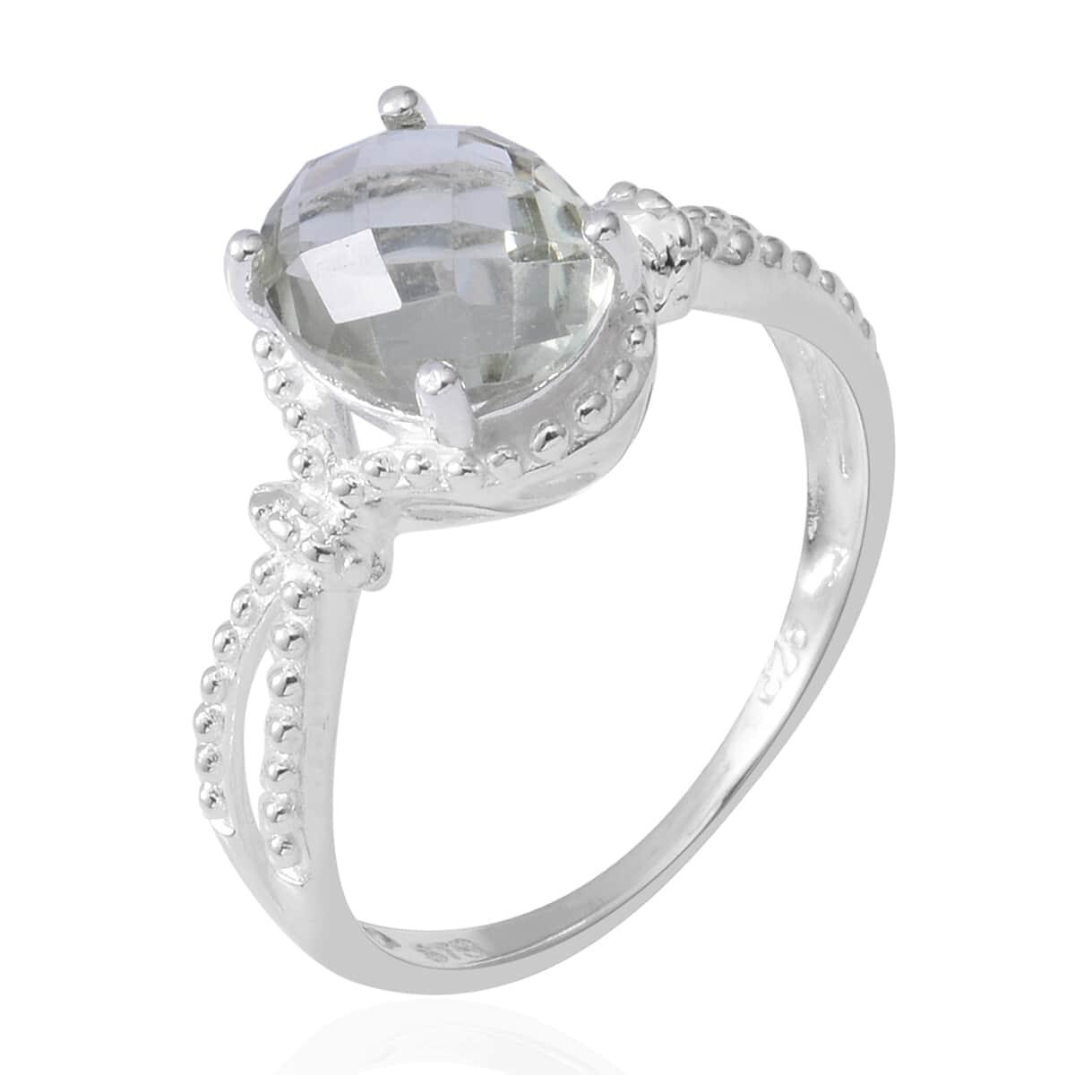 Green Amethyst Split Ring in Sterling Silver (Size 8.0) 2.33 ctw