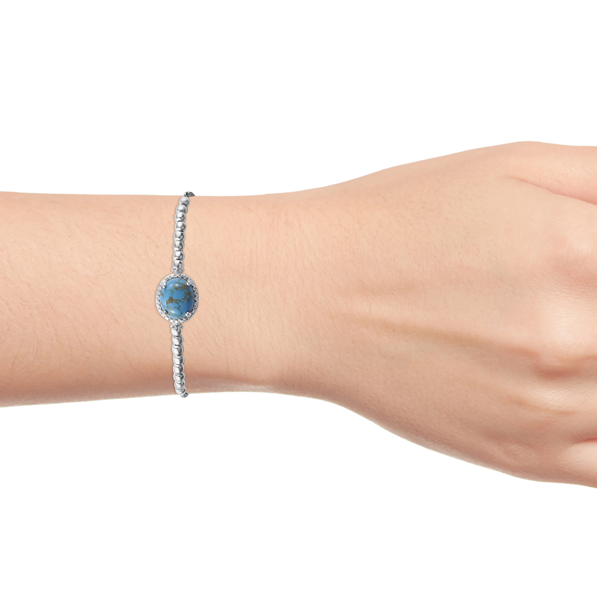 Bolo Bracelet 925 Sterling Silver Oval Blue Turquoise Gift Jewelry for Women