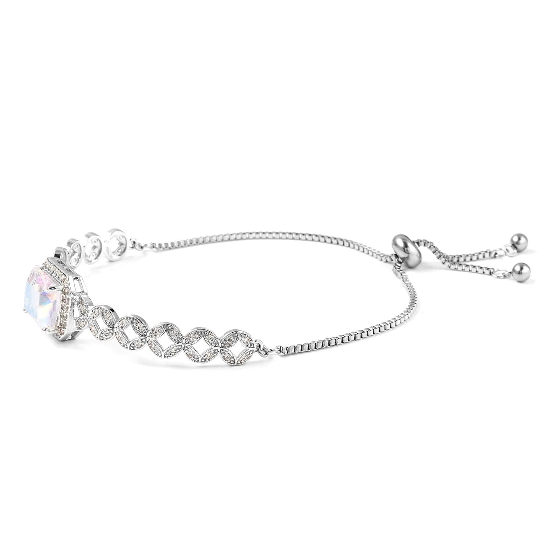 12-Color-Options-Cubic-Zirconia-Bracelet-Chain-Pendant-Necklace-Set-Adjustable thumbnail 48