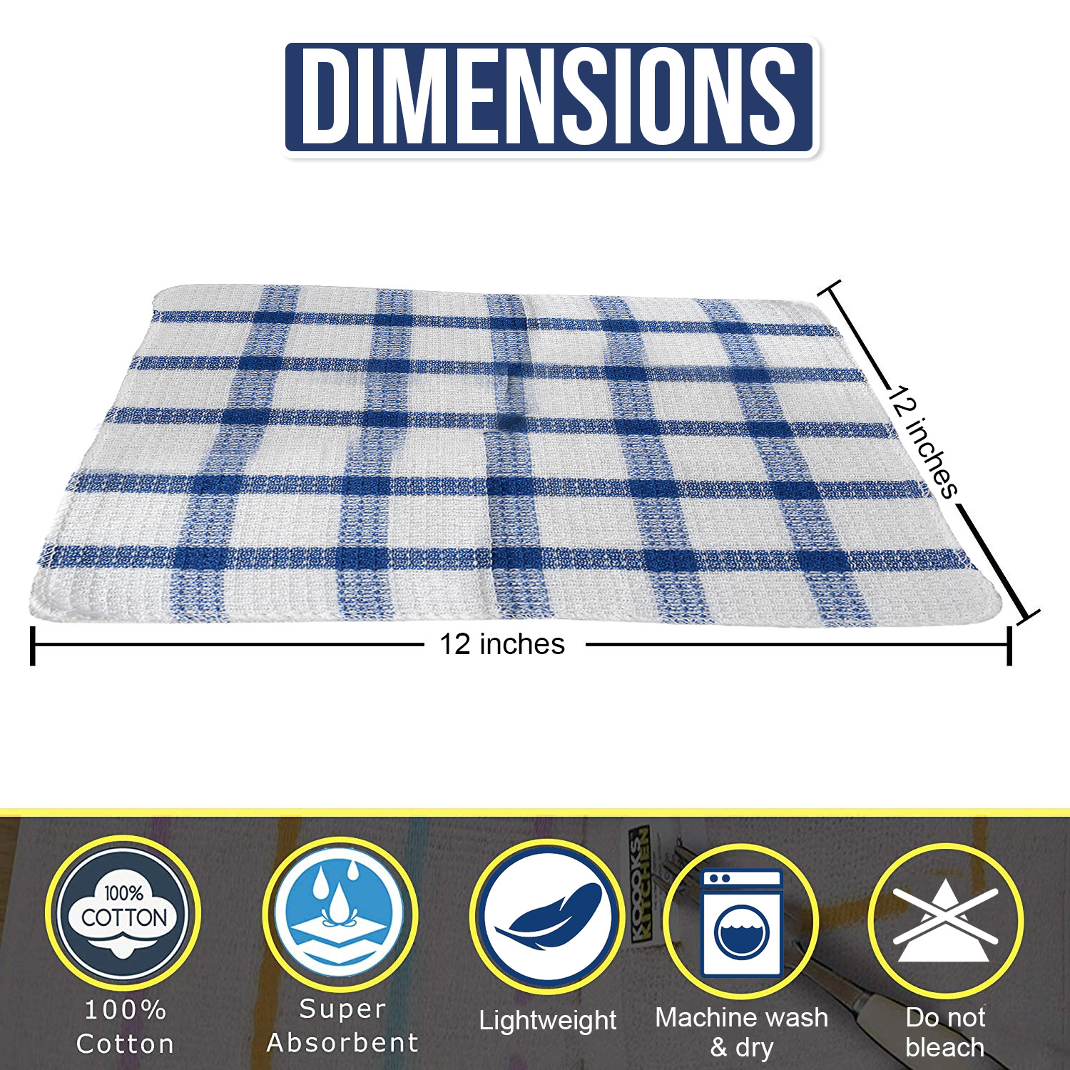 Set-of-24-Checkered-100-Cotton-Dish-Cloth-Kitchen-Cleaning-Cloth thumbnail 7