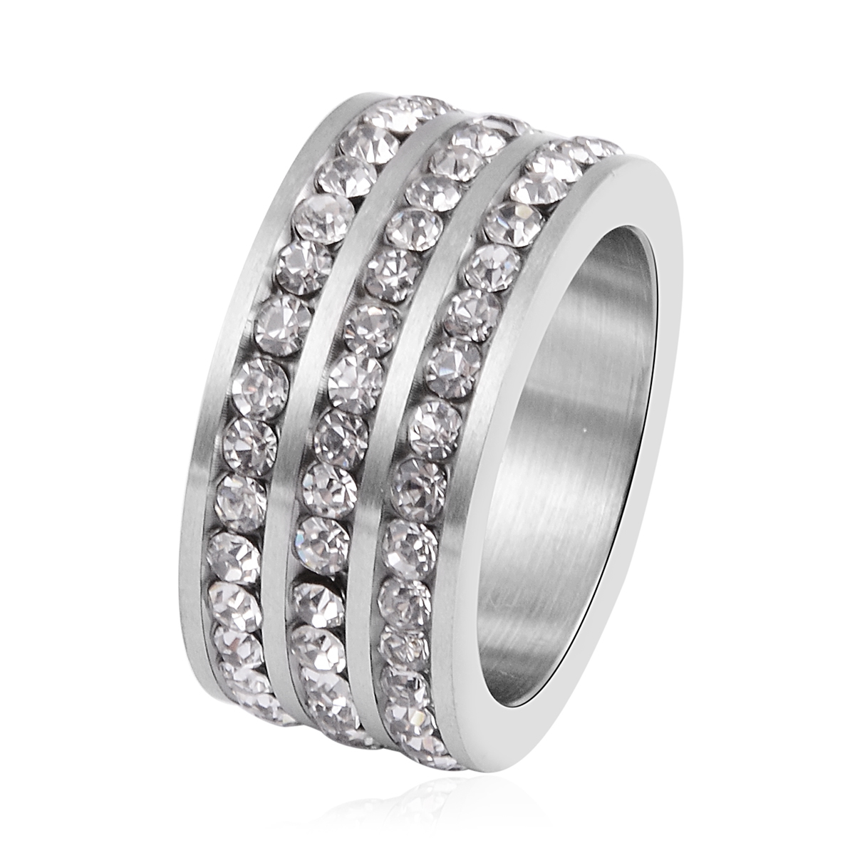 Austrian Crystal Stainless Steel Band Ring (Size 7.0)