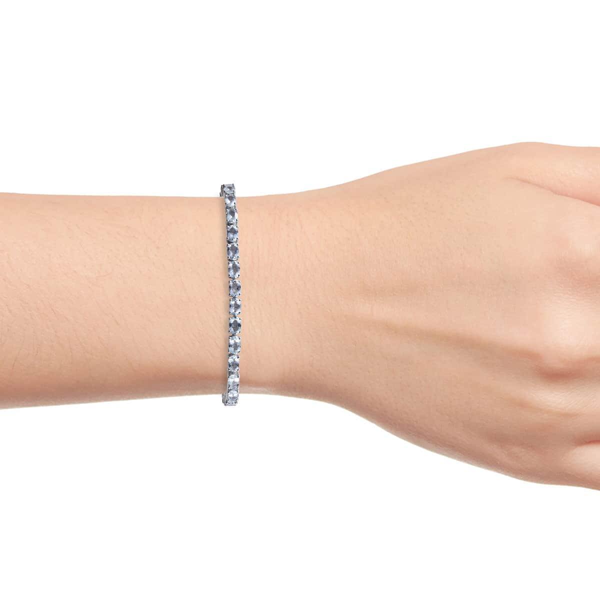 Espirito Santo Aquamarine Platinum Over Sterling Silver Bracelet (7.25 In) TGW 9.82 cts.