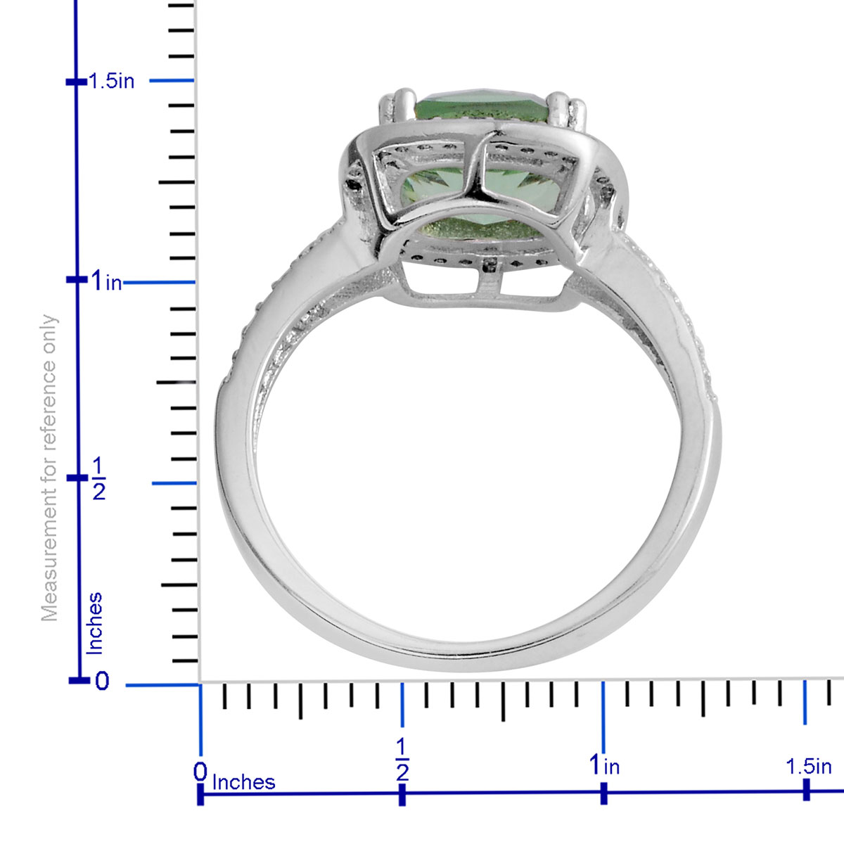 Green CZ, Simulated Diamond Ring (Size 8.0) in Silvertone 4.14 ctw