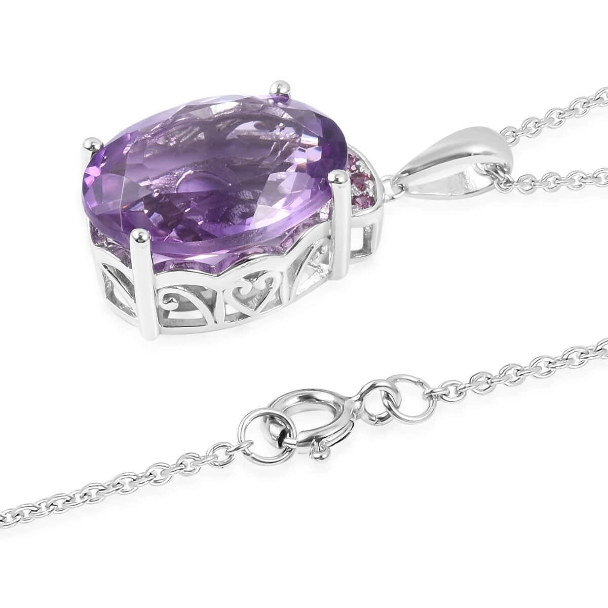 Bolivian Amethyst, Orissa Rhodolite Garnet Pendant Necklace (18 in) in Sterling Silver 8.35 ctw