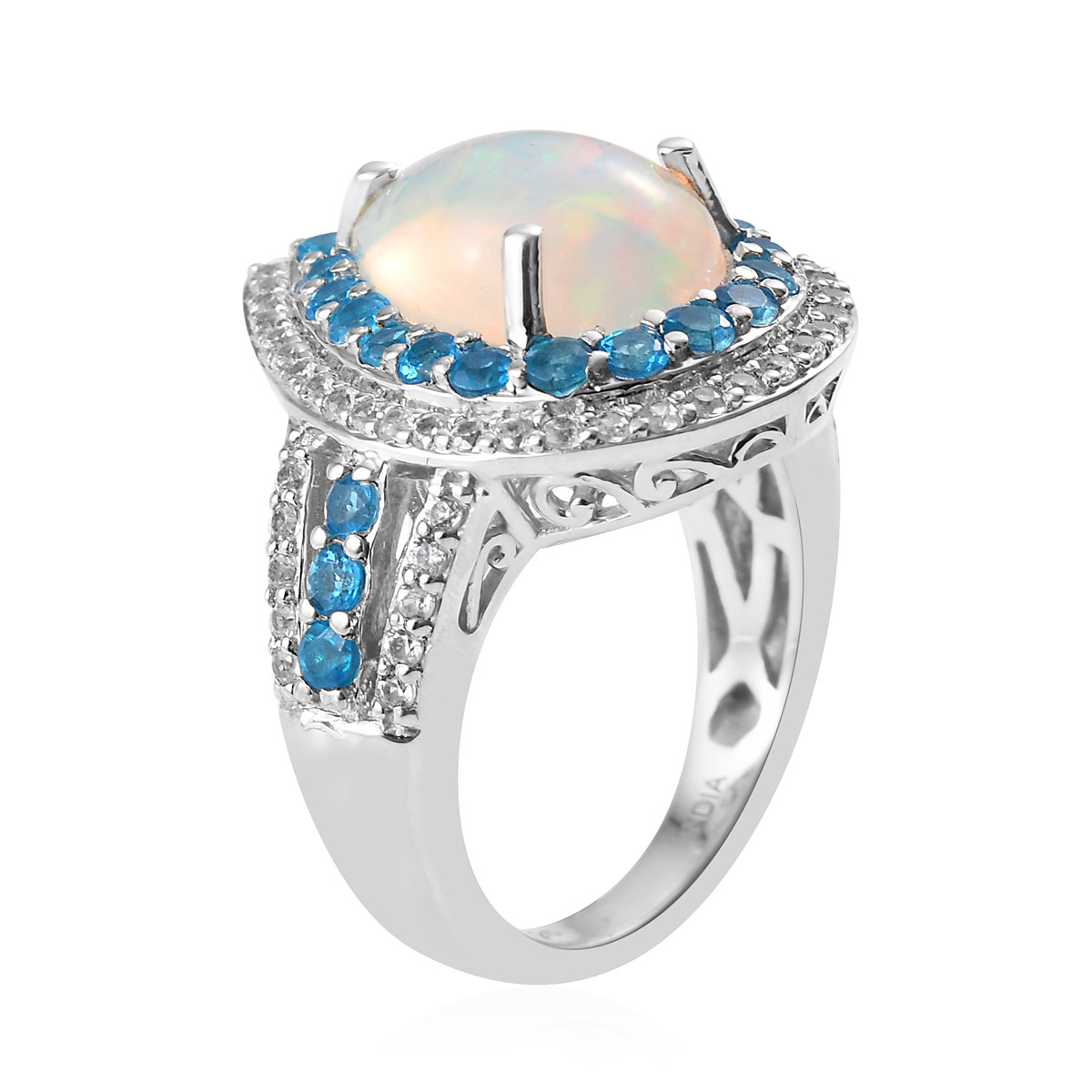 925-Sterling-Silver-Opal-Neon-Apatite-Halo-Ring-Jewelry-for-Women-Ct-4-1 thumbnail 3