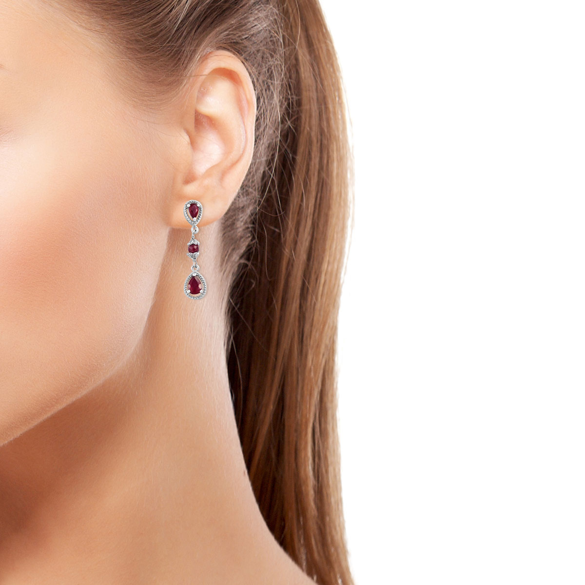 Niassa Ruby Earrings in Platinum Over Sterling Silver 3.32 ctw