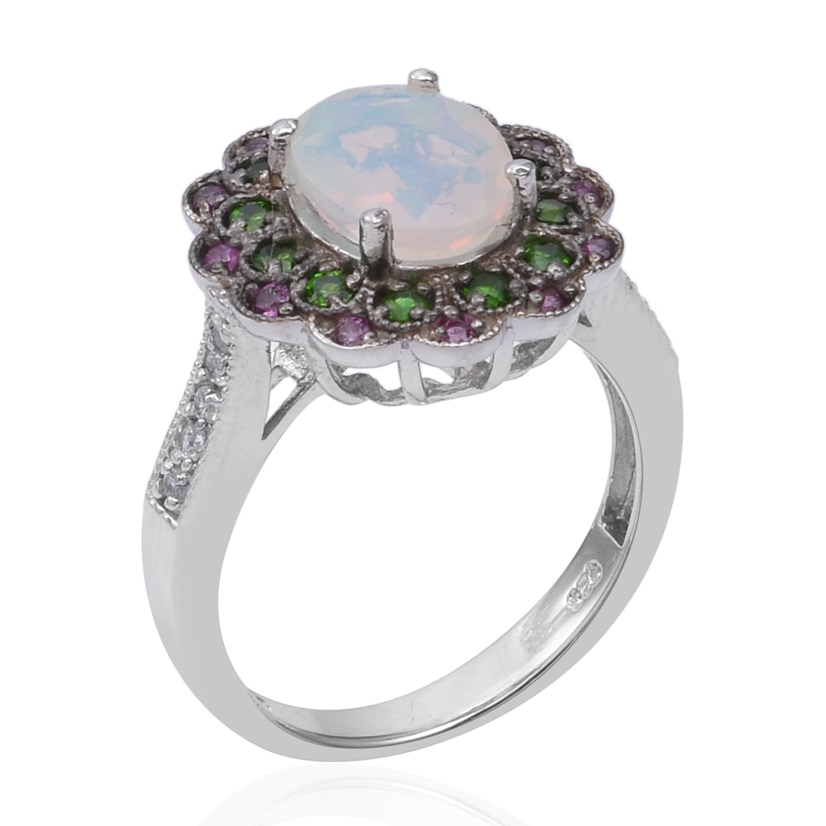 Ethiopian Welo Opal, Multi Gemstone Ring in Platinum Over Sterling Silver (Size 8.0) 2.34 ctw