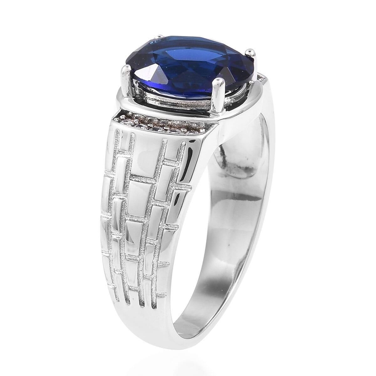 Blue Glass, White CZ Men's Ring in Silvertone (Size 12.0) 6.04 ctw
