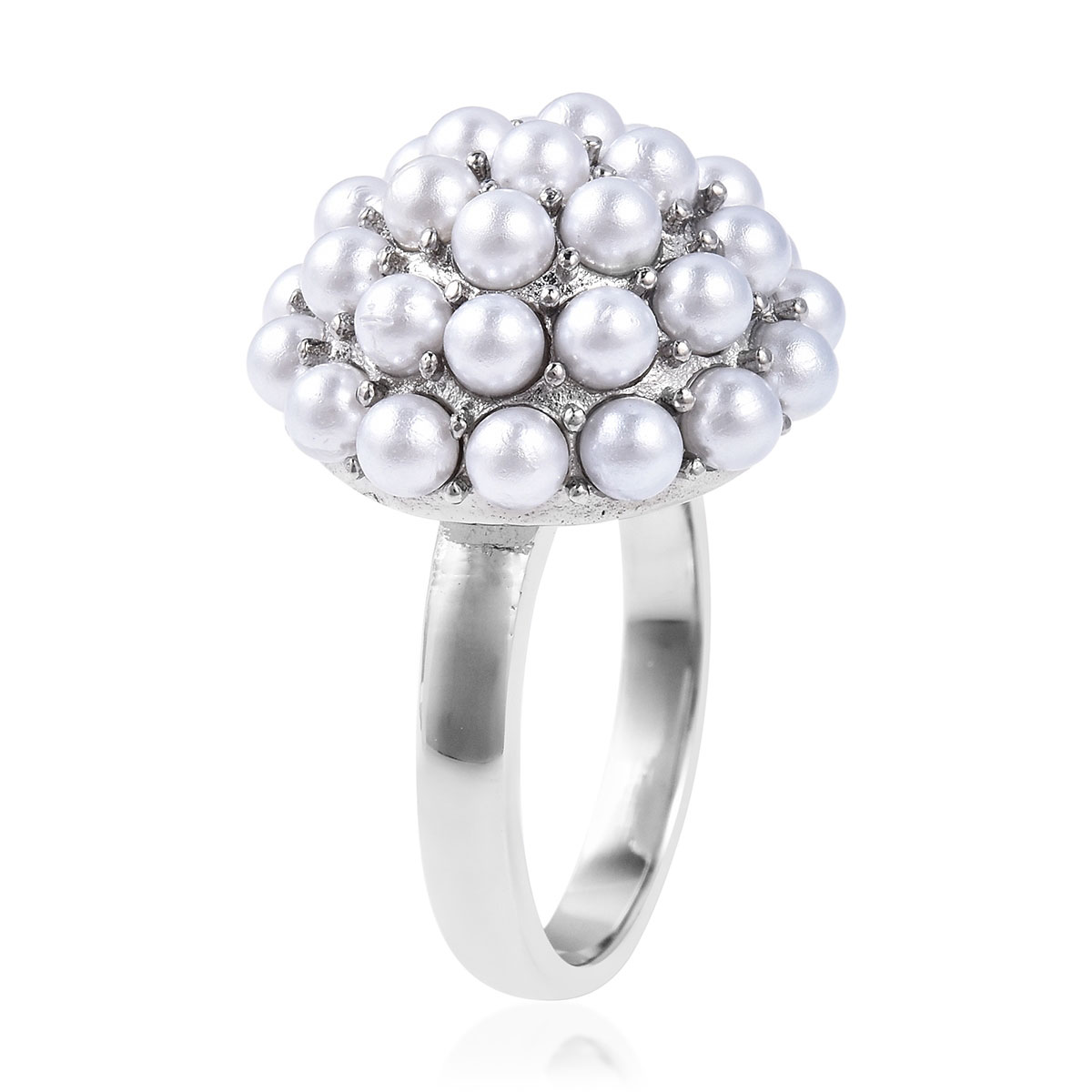 White Plastic Pearl Ring in Stainless Steel (Size 10.0)
