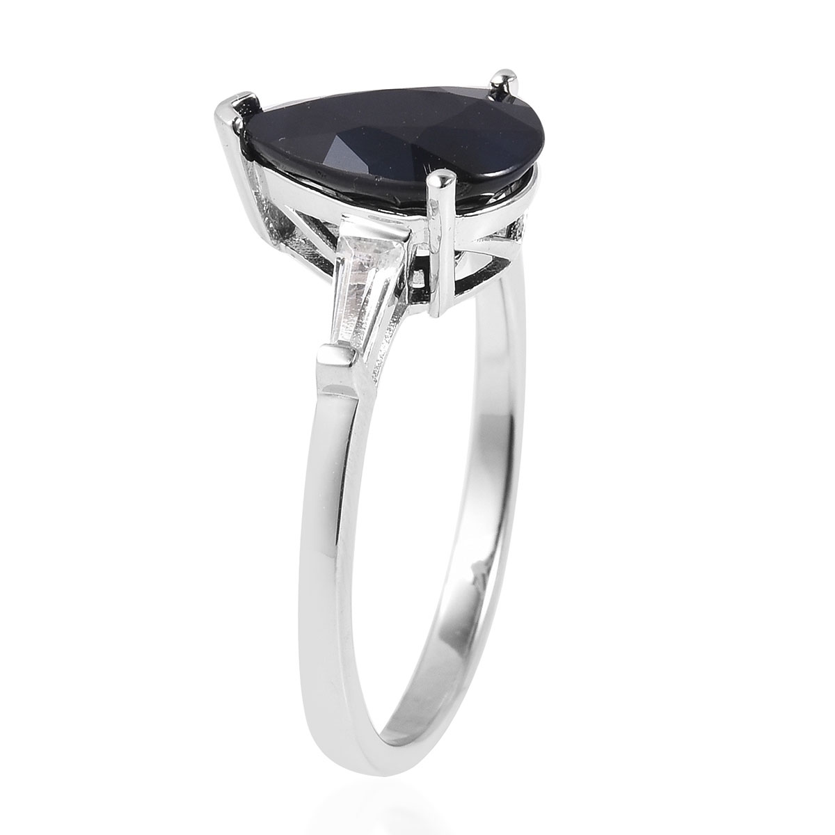 Madagascar Blue Sapphire, White Topaz Ring in Sterling Silver (Size 8.0) 3.80 ctw
