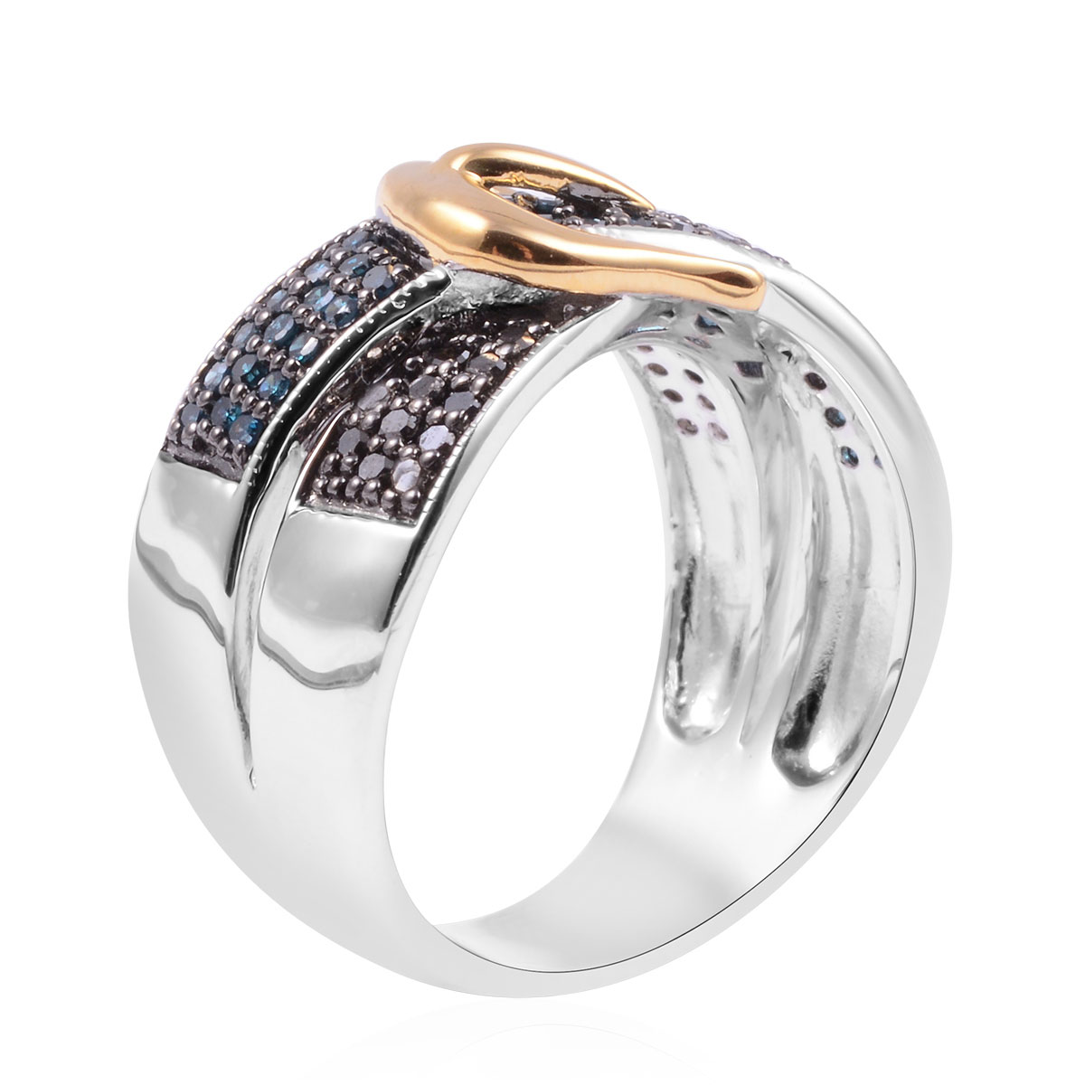 Black and Blue Diamond (IR) Buckle Ring in 14K YG & Platinum Over Sterling Silver (Size 5.0) 0.50 ctw