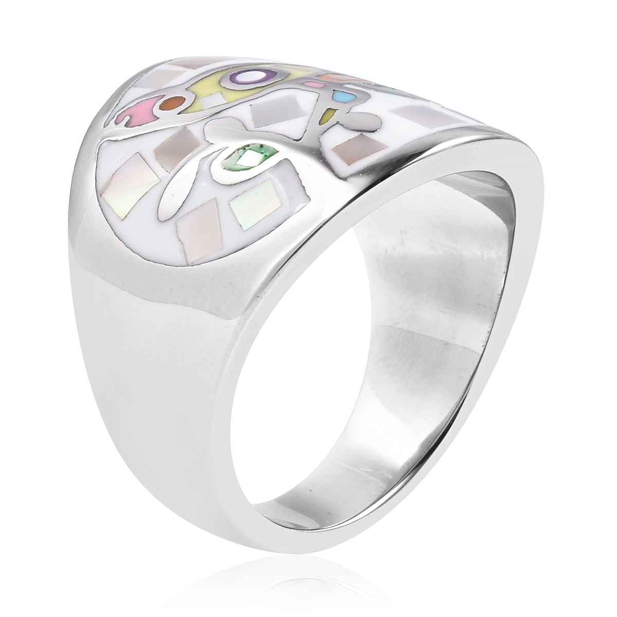 Mother of Pearl, Enameled Ring in Stainless Steel (Size 6.0)