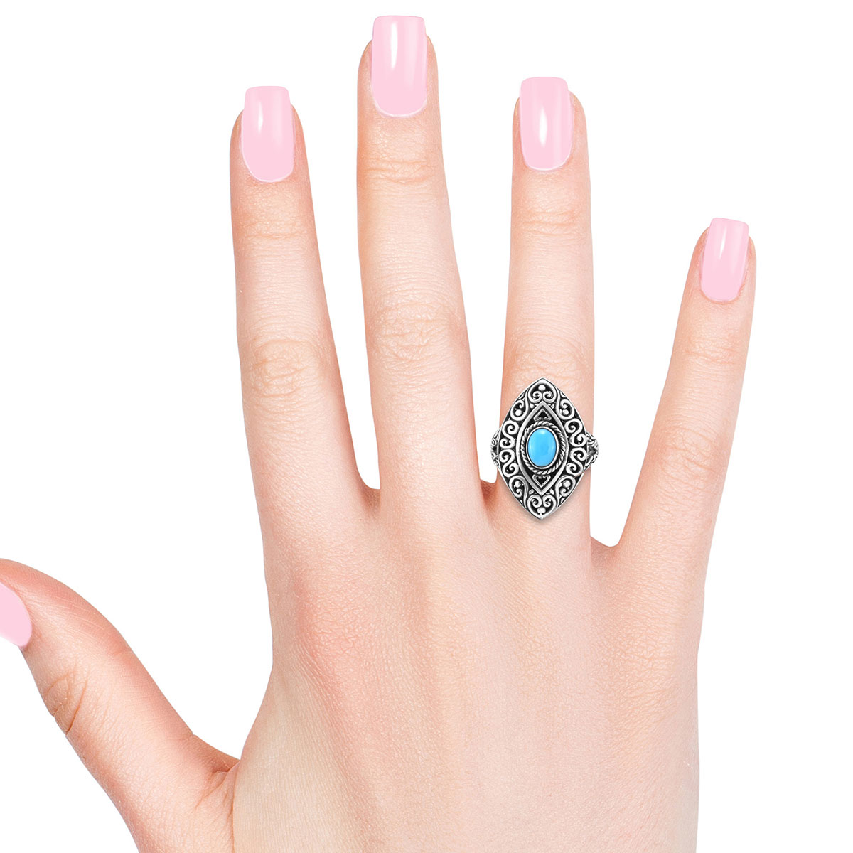 Bali Legacy Arizona Sleeping Beauty Turquoise Ring in Sterling Silver (Size 8.0) 1.10 ctw