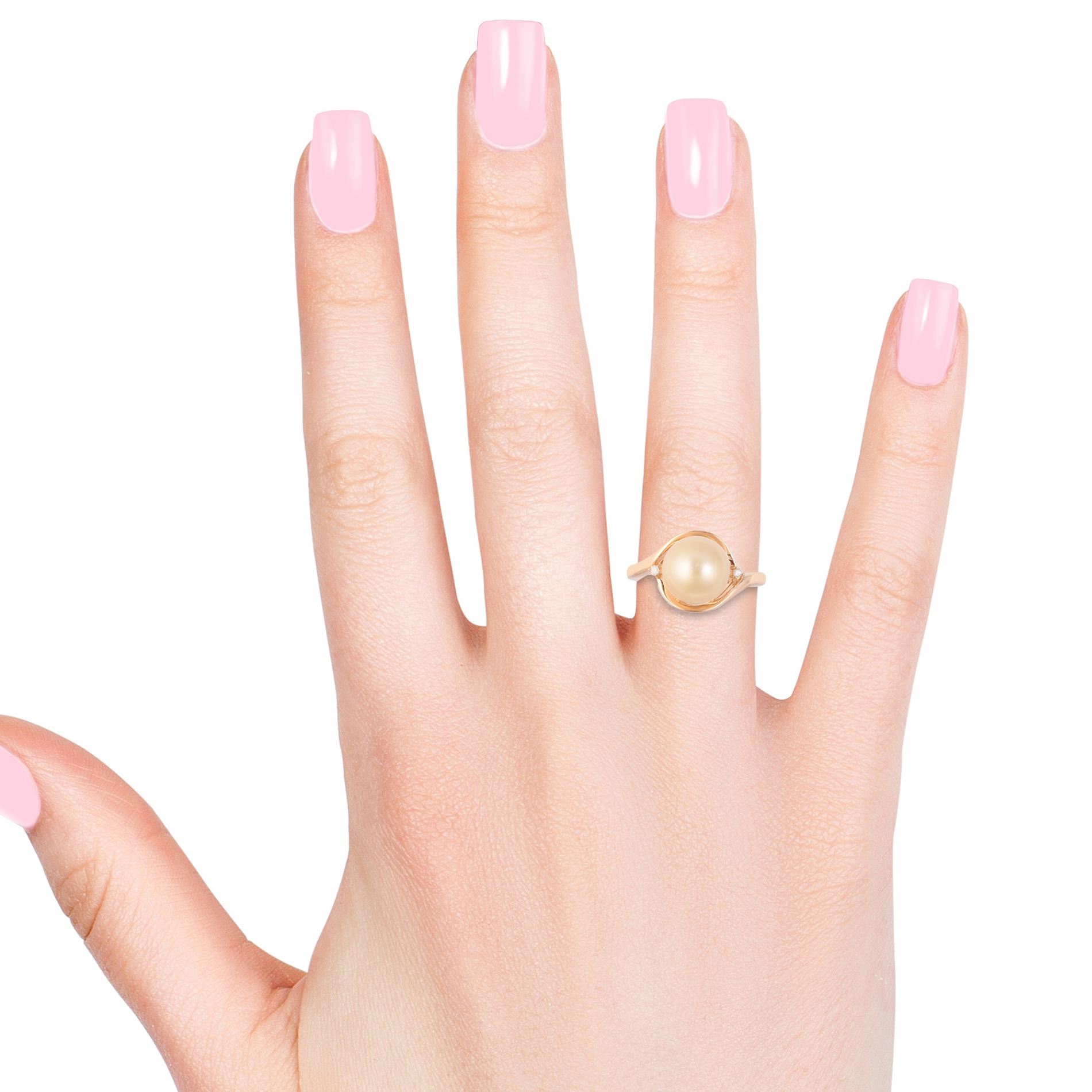 South Sea Golden Cultured Pearl (10-11 mm), Diamond Accent Ring in Vermeil YG Over Sterling Silver (Size 7.0)