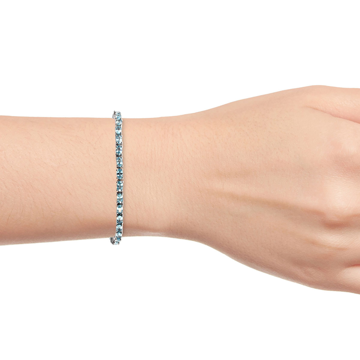 Cambodian Blue Zircon Bracelet in Platinum Over Sterling Silver (8.00 In) 14.35 ctw