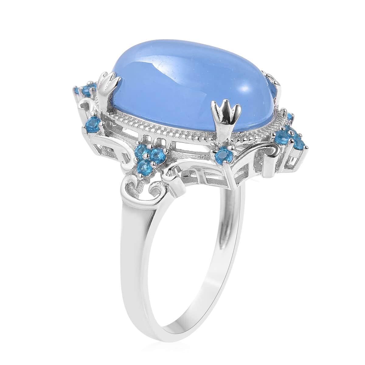 Burmese Blue Jade, Malgache Neon Apatite Ring in Sterling Silver (Size 8.0) 14.65 ctw