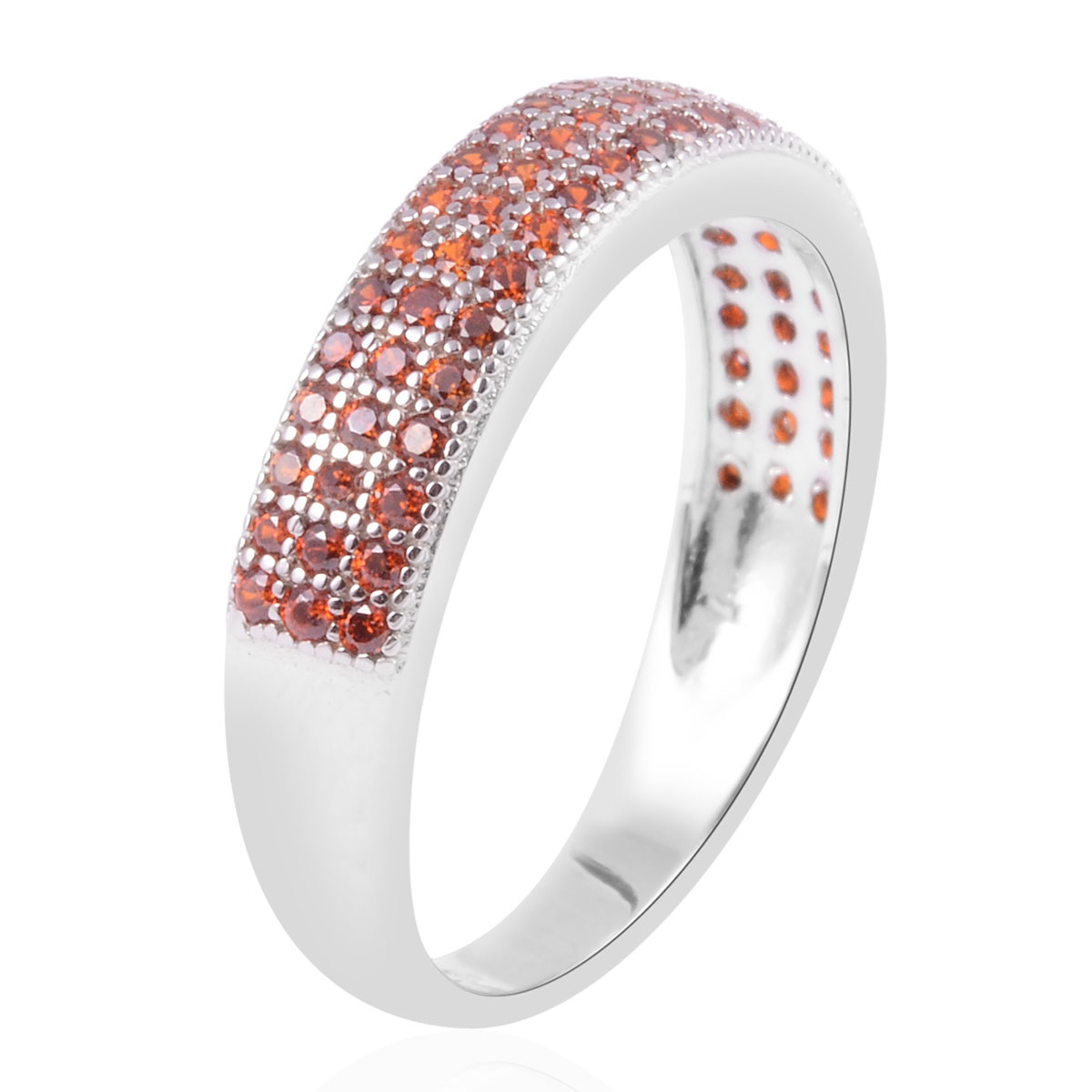 Orange CZ Band Ring in Sterling Silver (Size 10.0) 0.72 ctw