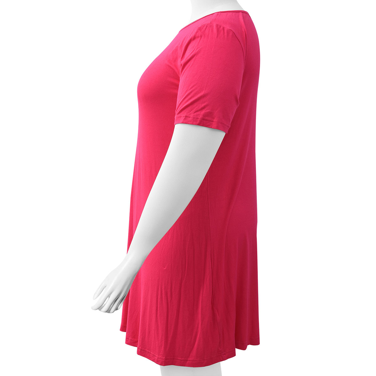 Rose Red East Knit Dress with 3/4 Sleeve - L (100% Viscose)