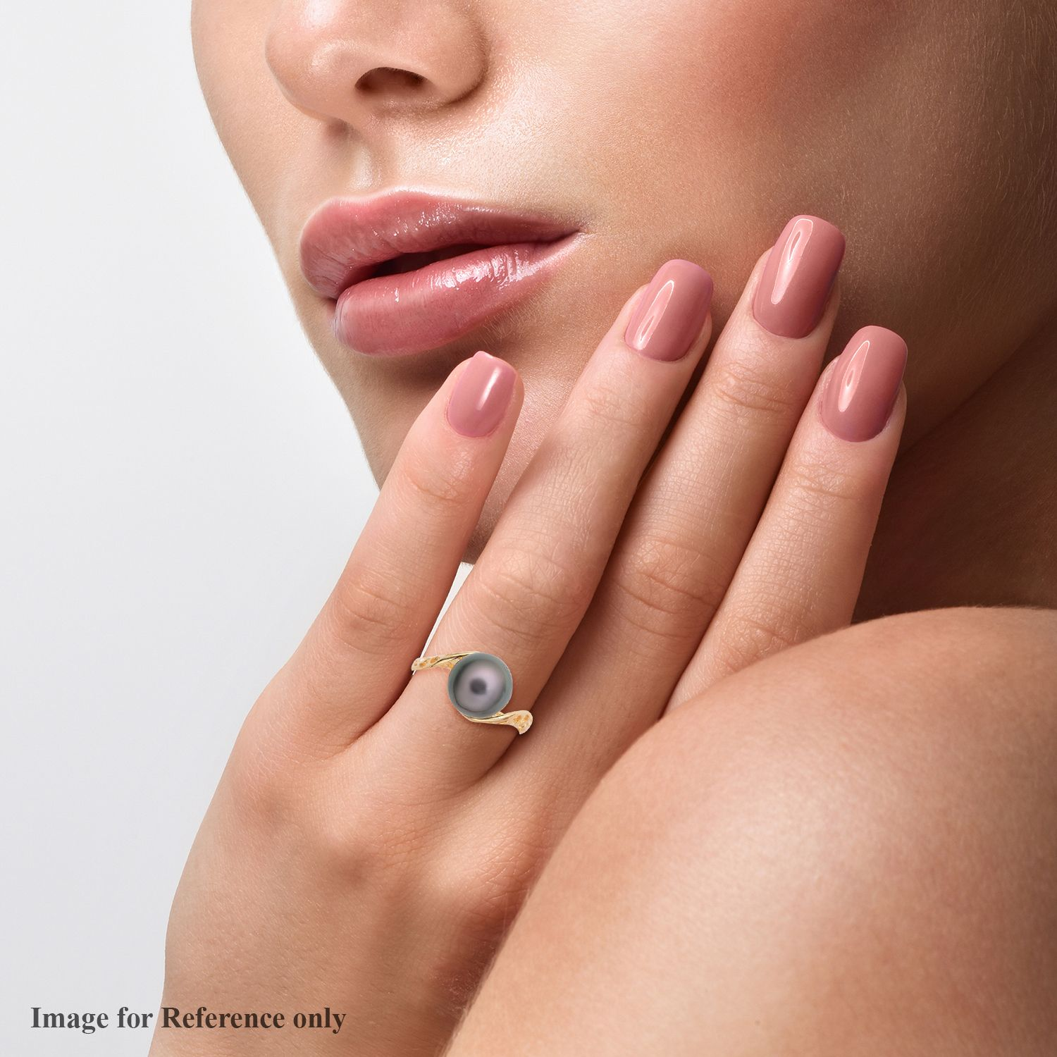 Tahitian Cultured Pearl 9-10 mm Ring in Vermeil YG Over Sterling Silver (Size 10.0)