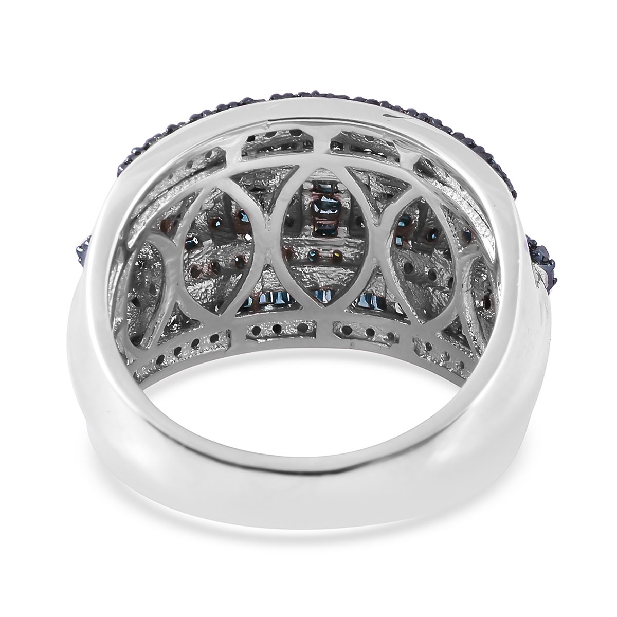 Blue Diamond (IR) Ring in Blue Rhodium & Platinum Over Sterling Silver (Size 9.0) 1.00 ctw