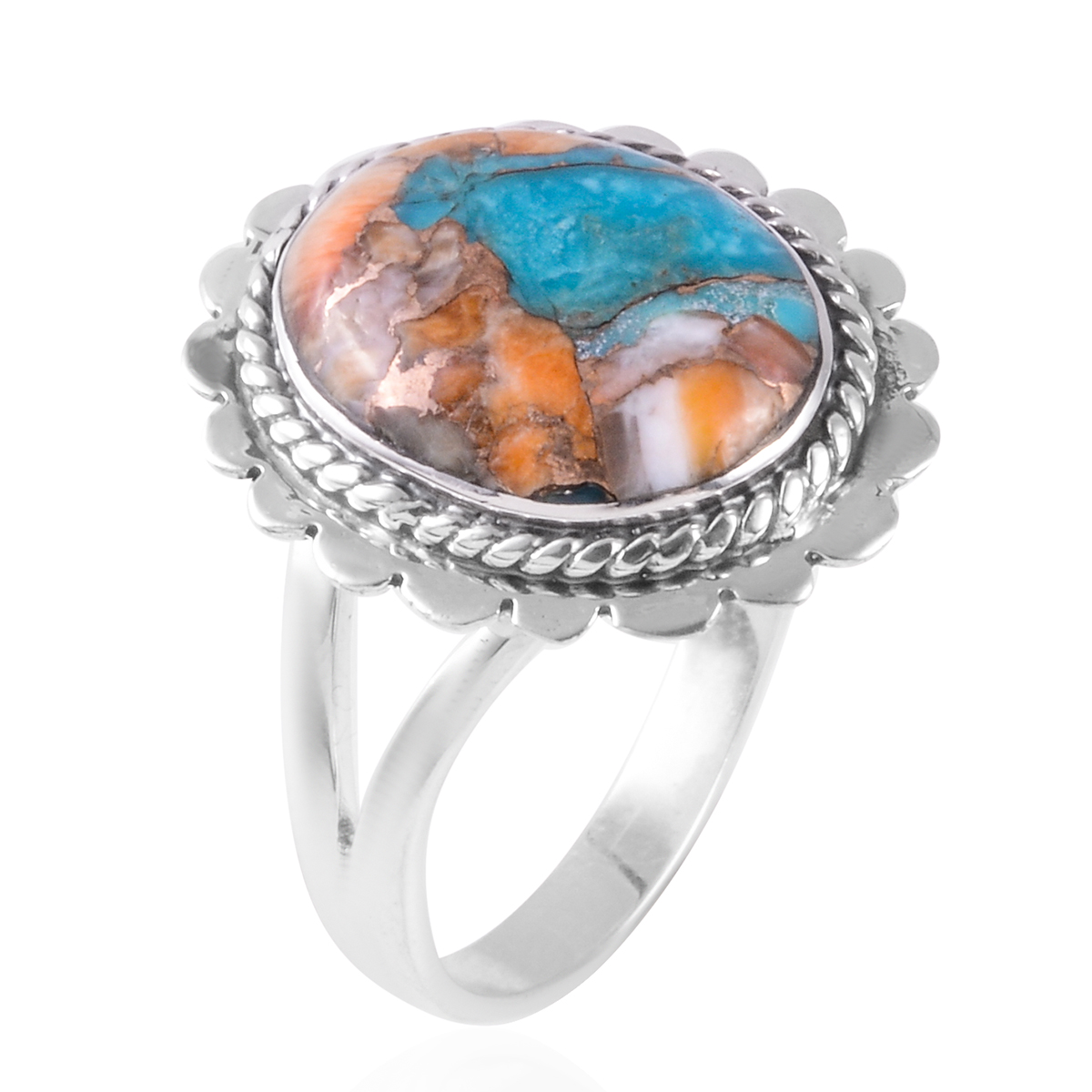 Santa Fe Style Spiny Turquoise Ring in Sterling Silver (Size 9.0) 2.00 ctw