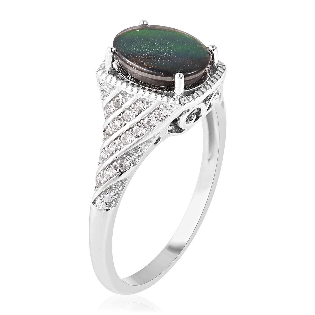Canadian Ammolite, White Zircon Ring in Sterling Silver (Size 10.0) 0.50 ctw