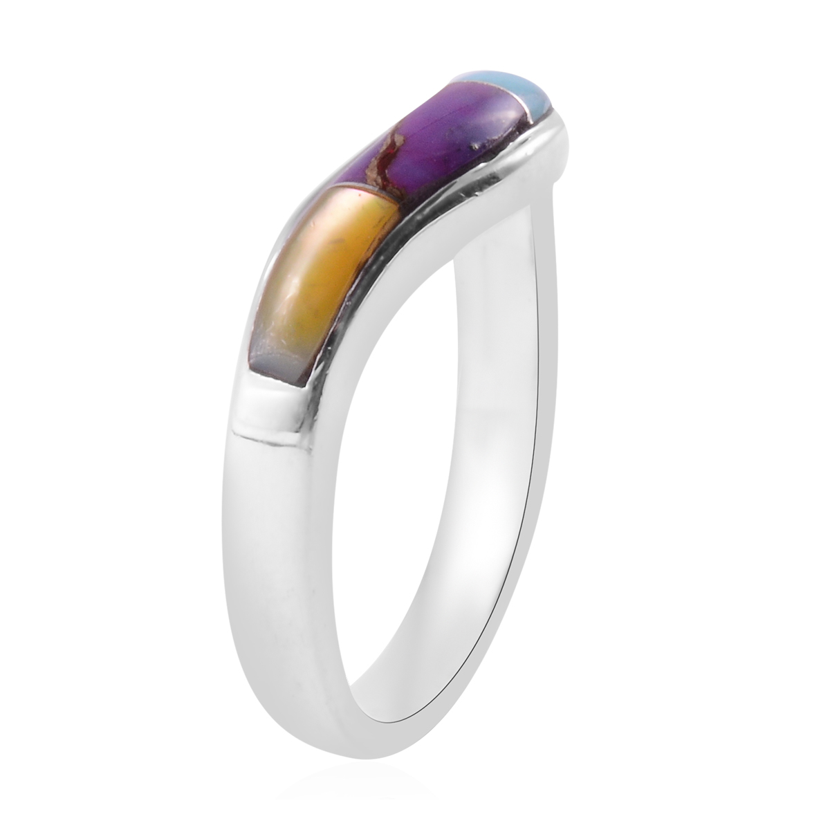 Santa Fe Style Multi Gemstone Band Wave Ring in Sterling Silver (Size 5.0) 0.20 ctw