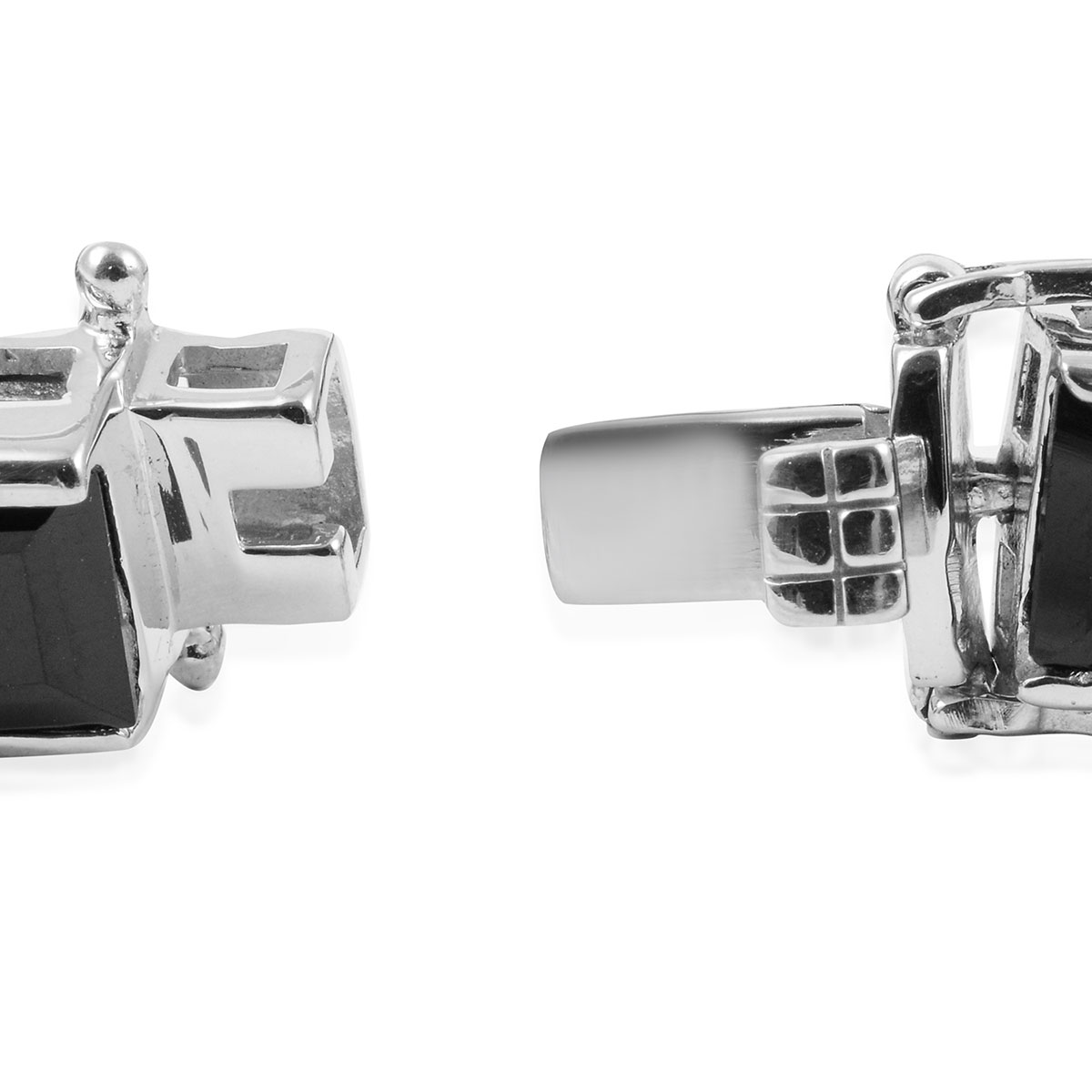 Thai Black Spinel Bracelet in Platinum Over Sterling Silver (6.50 In) (25 g) 44.20 ctw
