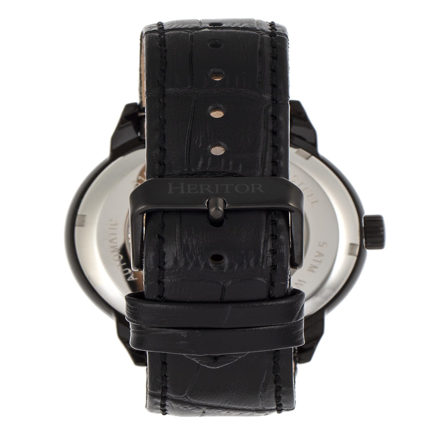 HERITOR Sanford Automatic Watch Black Bezel, Black Dial with Black Leather Band (TPF Model HERHR8305)