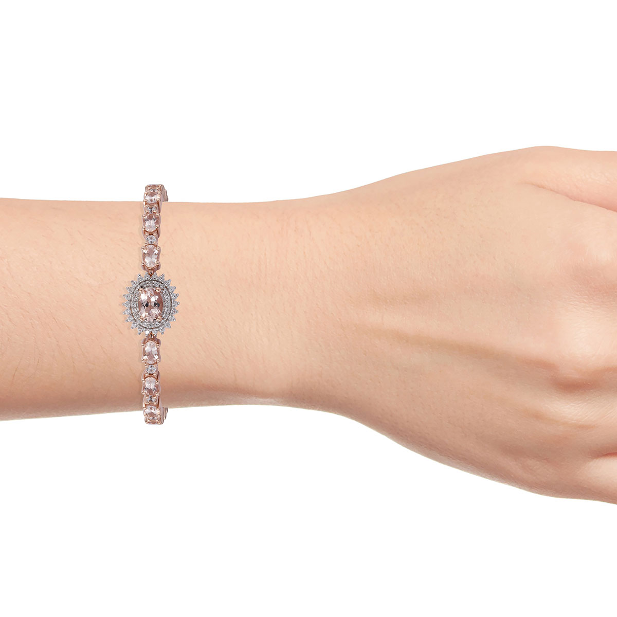 AA Premium Marropino Morganite, Zircon Bolo Bracelet in Vermeil RG Sterling Silver (9.50 In) 6.48 ctw