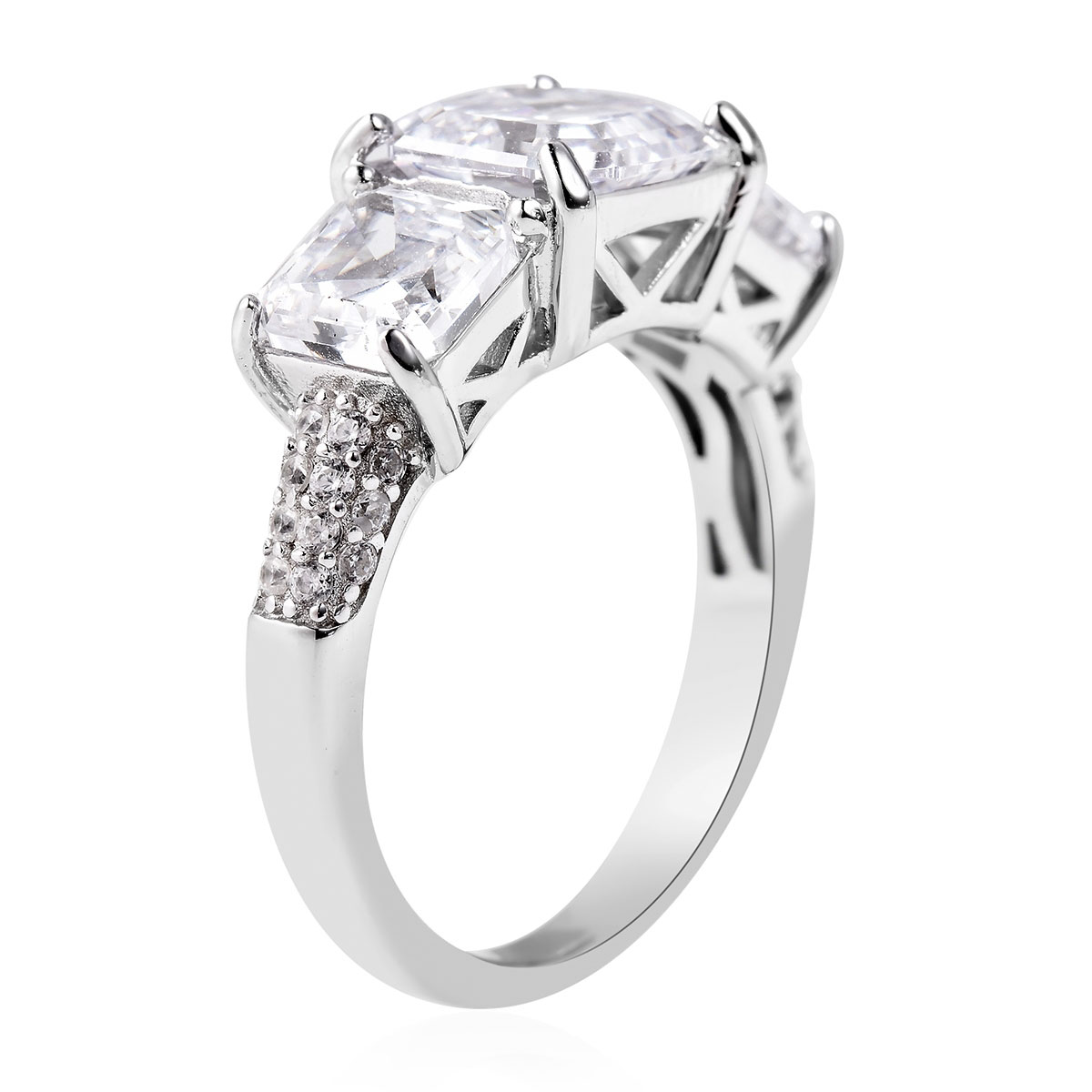 LUSTRO STELLA CZ Ring in Sterling Silver (Size 6.0)