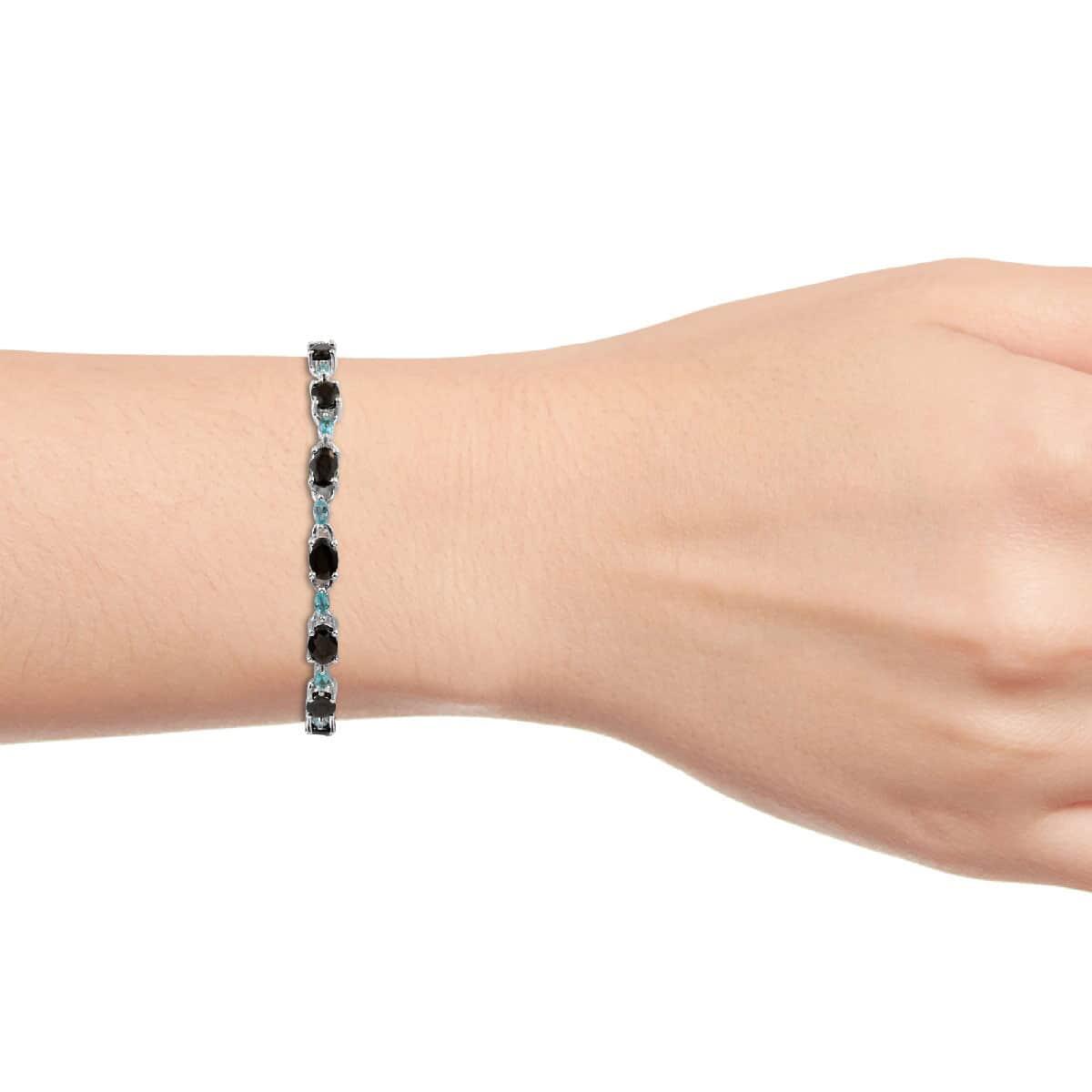 Shungite, Madagascar Paraiba Apatite Bracelet in Platinum Over Sterling Silver (8.00 In) (7.77 g) 7.85 ctw