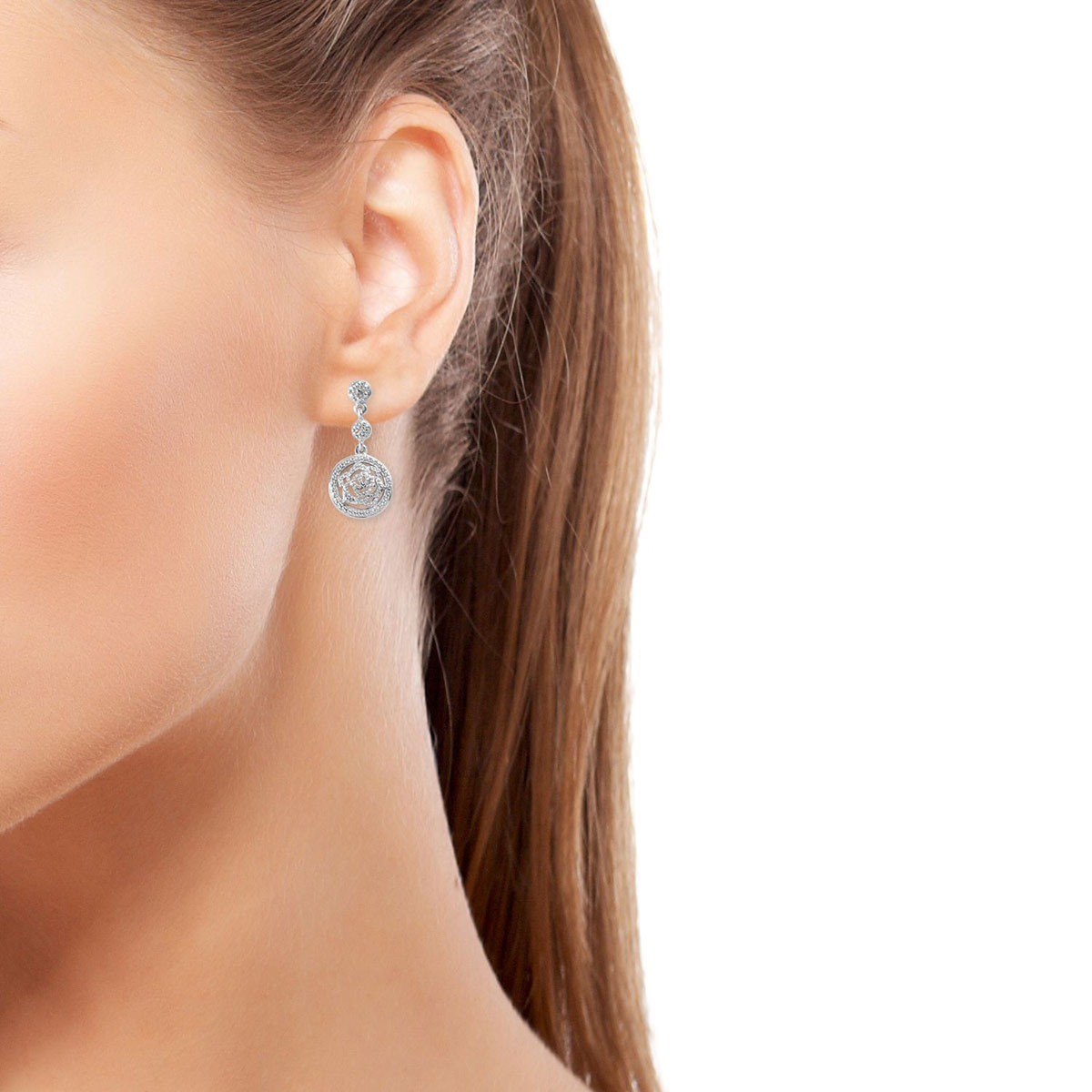 Diamond Accent Rose Earrings In Platinum Over Sterling