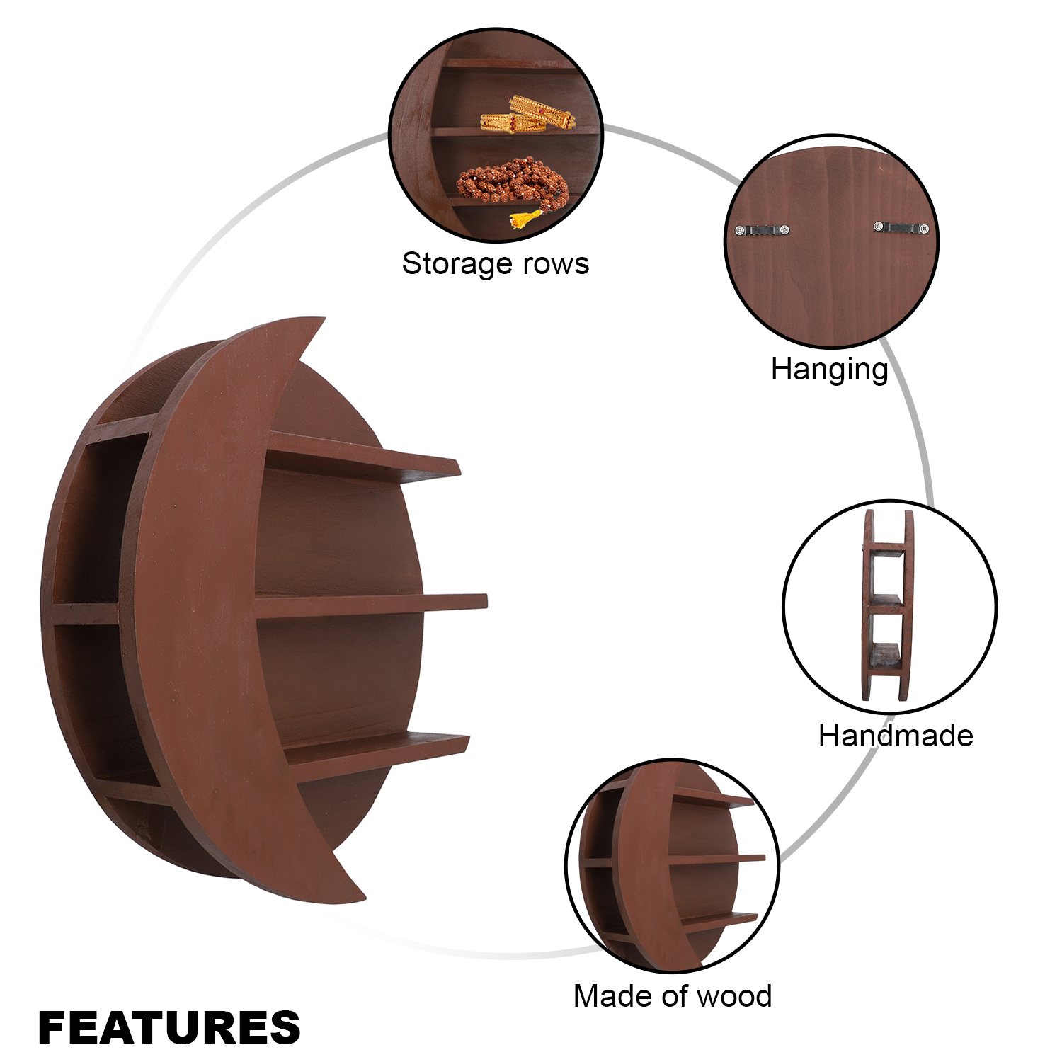 Handcrafted Brown Sun Moon Shape Wooden Storage Row Wall Jewelry Organizer 2 lbs