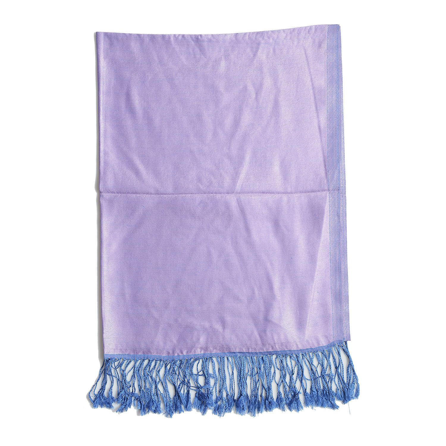 Blue and Purple 100% Silk Reversible Scarf (74x28 in)